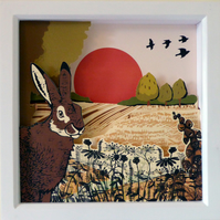 Harvest Hare - A Hand crafted, three-dimensional, artwork & light box