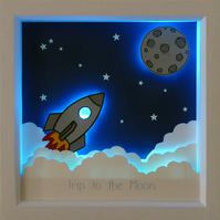 Trip to the Moon - A Hand crafted, three-dimensional, artwork & light box