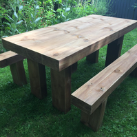 Railway sleeper Table & Benches - Hand made by Wonkyshelf of Woburn