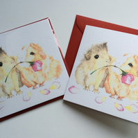 Guinea Pig Greetings card, 'Piggy Love'...roses are red...