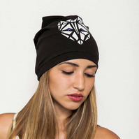 Fox beanie hat for women, Black cotton beanie, Slouchy beanie hat, Skull cap