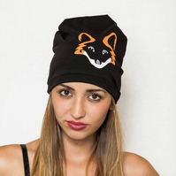 Fox Print Beanie Hat for Women, Teen gift, Black cotton beanie, Gift for her