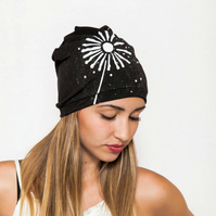 Floral Beanie Hat for Women, Gift For Her, Hand painted hat, Knit jersey hat