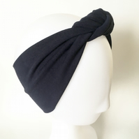 Adult Headband, Navy Blue Top Knot Headband, Blue Head Wrap, Knotted Women's