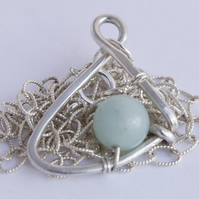 Sterling Silver Pendant Necklace Quirky Necklace Amazonite Necklace Green 925