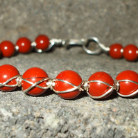 Red Jasper Double Wrapped Bracelet Sterling Silver Bracelet Red Beaded Bracelet