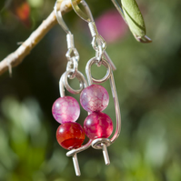 Tourmaline Earrings Pink Earrings Silver Earrings Safety Pin Earrings Quirky