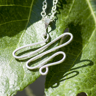 Sterling Silver Necklace Silver Pendant Necklace Silver Snake Necklace