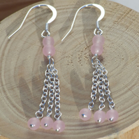 Sterling Silver Earrings Rose Quartz Earrings Pink Earrings Chandelier Earrings