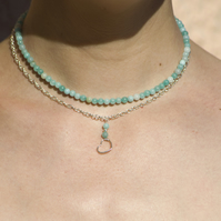 Handmade Sterling Silver Necklace Amazonite Short Necklace Beaded Heart Choker