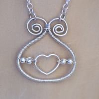 Sterling Silver Necklace Silver Necklace Heart Wire Wrapped Necklace