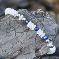 Handmade Opal Bracelet Sterling Silver Bracelet Lapis and White Beaded Bracelet