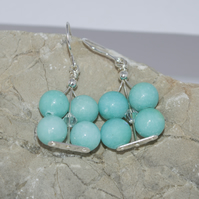 Handmade Sterling Silver Beaded Earrings Spring Amazonite Flower Earrings