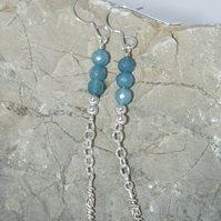 Handmade Sterling Silver Earrings Silver Drop Earrings Blue Dangle Earrings