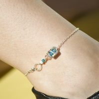 Sterling Silver Anklet Square Bead Anklet Blue Anklet Ankle Jewellery