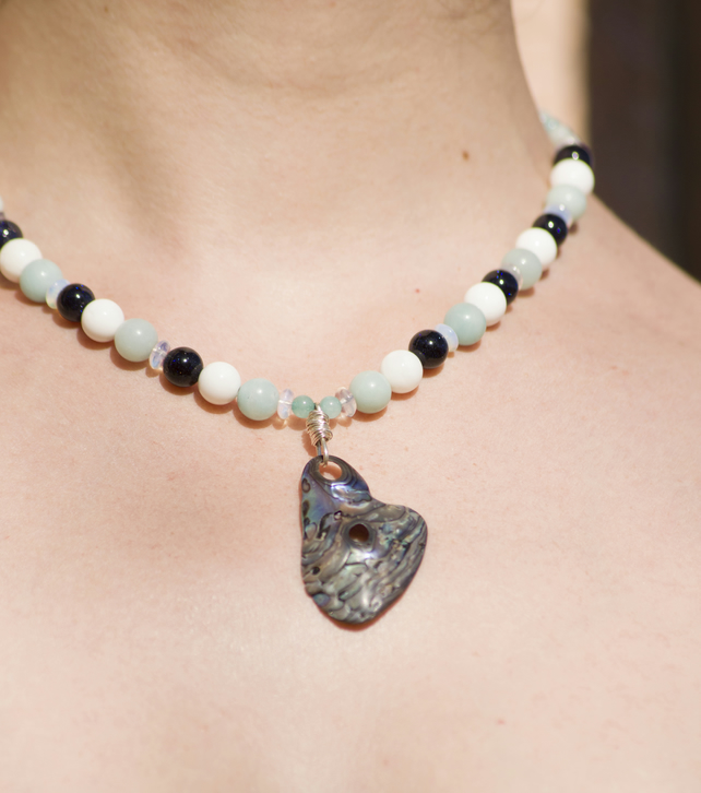 Handmade Sterling Silver Beaded Necklace with Abalone Shell Pendant