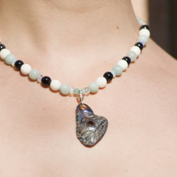 Handmade Sterling Silver Beaded Necklace with New Zealand Shell Pendant