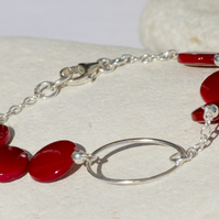 Handmade Sterling Silver Red Wire Wrapped Bracelet Red Silver Beaded Bracelet