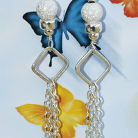 Square Sterling Silver Earrings Beaded Sparkly Earrings Chandelier Earrings