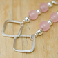 Rose Quartz Earrings Sterling Silver Beaded Earrings Square Detail Pink Earrings