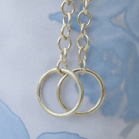 Simple Circle Silver Earrings Handmade Sterling Silver Earrings Drop Earrings
