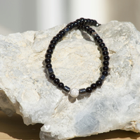 Simple Silver Necklace Sterling Silver Necklace Black Onyx Necklace Choker