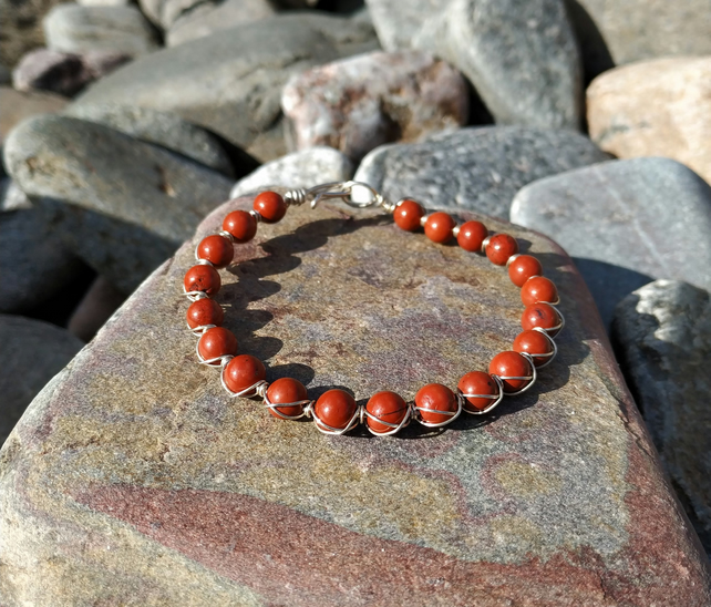 Red Jasper Double Wrapped Bracelet Sterling Silver Bracelet Red Bracelet