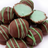 Chocolate dipped Mint Fudge Truffles in Milk Belgian Chocolate