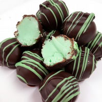 Chocolate dipped Mint Fudge Truffles in Dark Belgian Chocolate