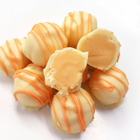 Orange Chocolate Fudge Truffles in White Belgian Chocolate - Gift Box of 6