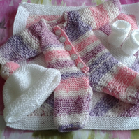 Hand knitted clothes and blanket for 43 cm baby born doll