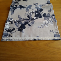 Wide Linen Table Runner Stone Grey and Navy Floral. 52x16""