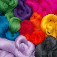 Corriedale Wool Tops 100g Mixed Colour Pack Felting, Spinning