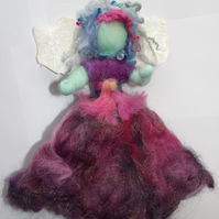 Bluebell Fairy Hand Felted Hanging Decoration. Hand Dyed Wool, Silk and Sparkles