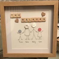 Beautiful handmade button family picture and frame