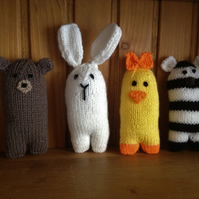 Hand knitted baby animals