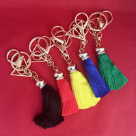 "Harry Potter Inspired "" Deathly Hallows "" with House colours - Tassel Keyring"