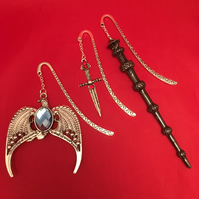 "Harry Potter Inspired "" Magical Objects "" Dangling Charm - Metal Bookmark"