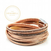 Leather Bracelet - Multi Strand Wrap Magnetic Clasp