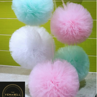 Tulle Pompoms wall decoratin set of 5 - Wedding  Baby Shower  Party  Birthday
