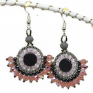 Pink & Gray Crystal Sterling Silver Earrings with Hematite Seed Beads