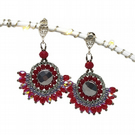 Red & Gray Crystal Sterling Silver Earrings  Seed Beads