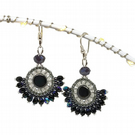 Black AB & Gray Crystal Sterling Silver Earrings with Hematite Seed Beads