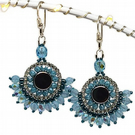 Turquoise & Aquamarine Blue Crystal Sterling Silver Earrings  Seed Beads