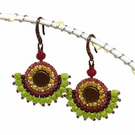 Copper & Lime Green Earrings  Seed Beads