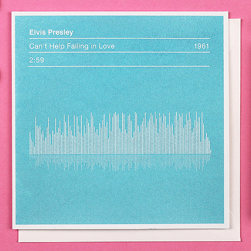 Valentines Card Elvis Presley 'Can't Help Falling In Love' Sound Spectrum Card