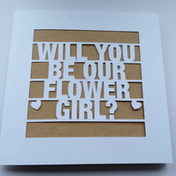 Will You Be Our Flower Girl? Wedding Papercut Kraft Greeting Card