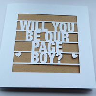 Will You Be Our Page Boy? Wedding Papercut Kraft Greeting Card