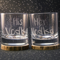 His and Hers Mixer Glass Gift Set With Matching Hand Burned Wood Slice Coasters