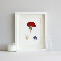 Rose picture, flower picture, pressed flowers picture, wall art